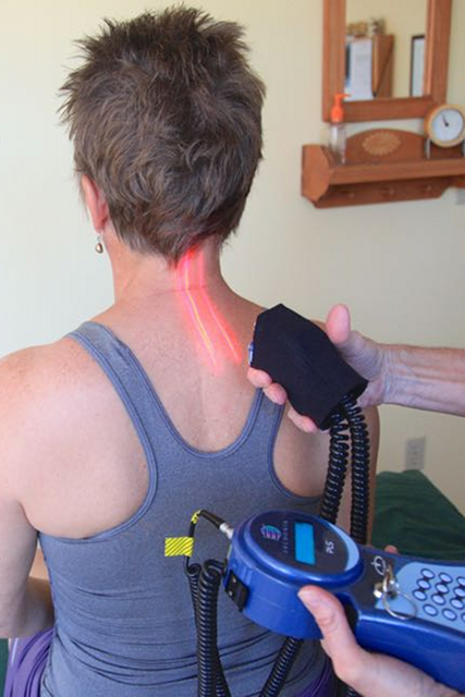 Image of laser therapy to the cervical spine.