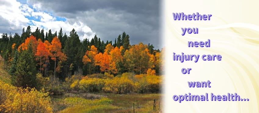 Image of mountain fall scene next to 'Whether you need injury care or want optimal health...' slogan.
